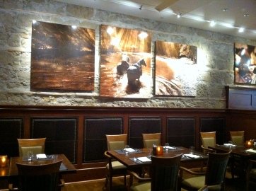 The walls are adorn with Western Canadian pieces of art by JoAnne Meeker.